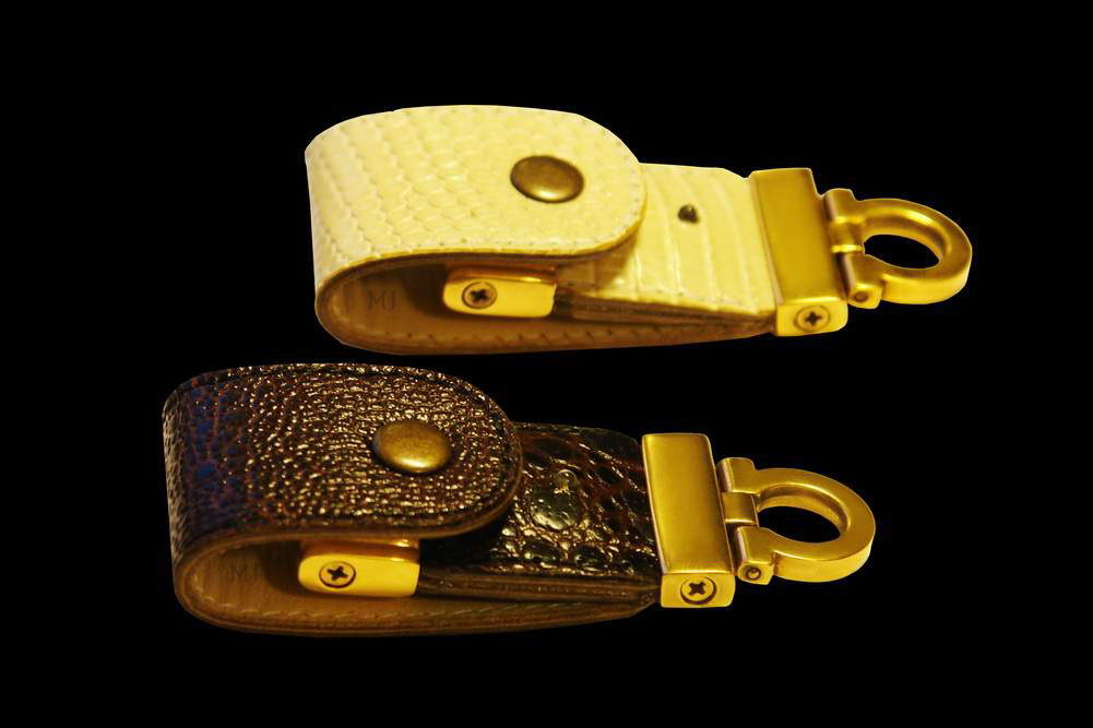 MJ - USB Flash Drive Gold Leather Edition - Monitor Lizard Goanna, Red Frog, Solid Gold.