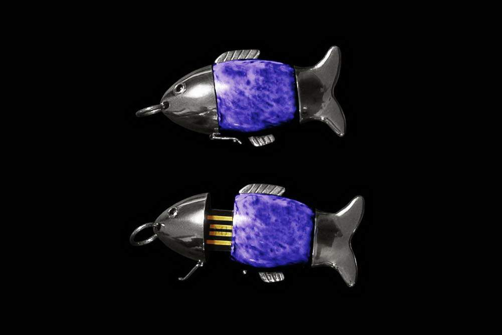 MJ - USB Flash Drive Stone Fish Edition - Violet Marble. Silver Flash. Sapphire Eyes.